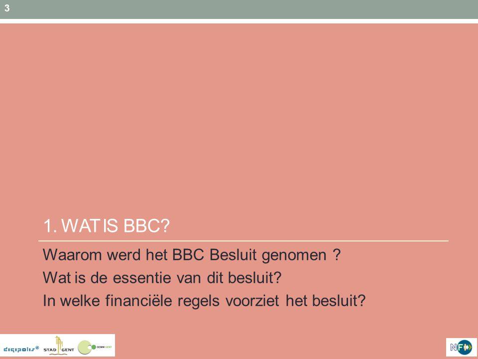 1. WAT IS BBC Waarom werd het BBC Besluit genomen