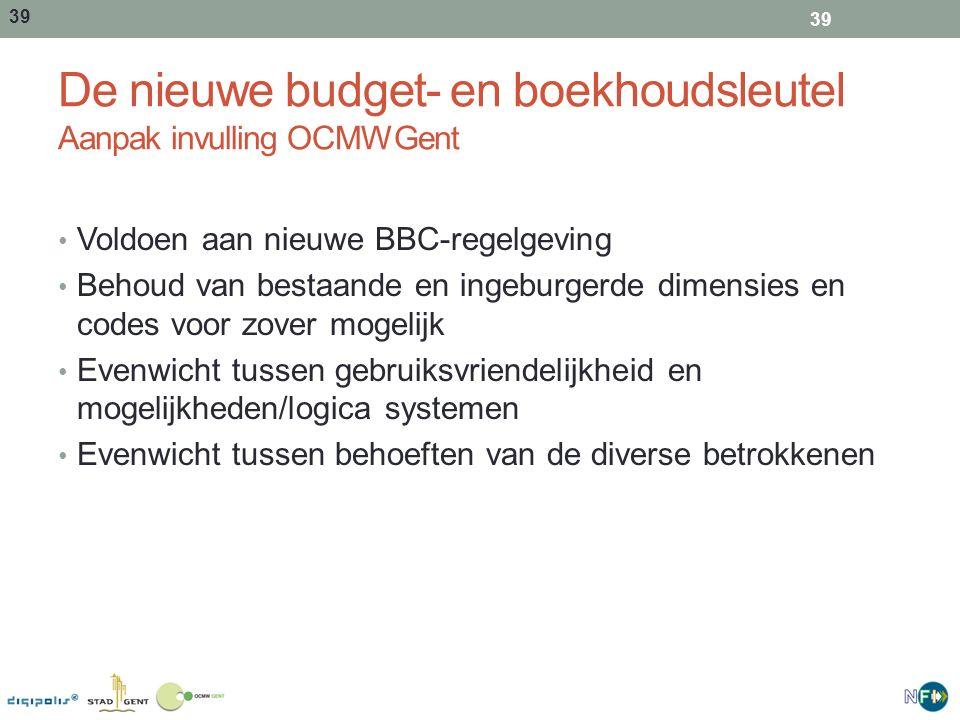 De nieuwe budget- en boekhoudsleutel Aanpak invulling OCMWGent