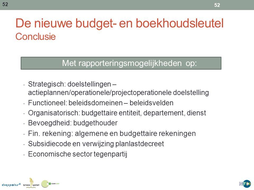 De nieuwe budget- en boekhoudsleutel Conclusie