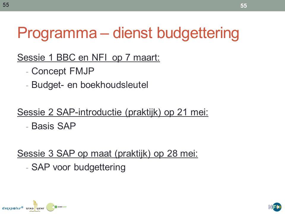 Programma – dienst budgettering