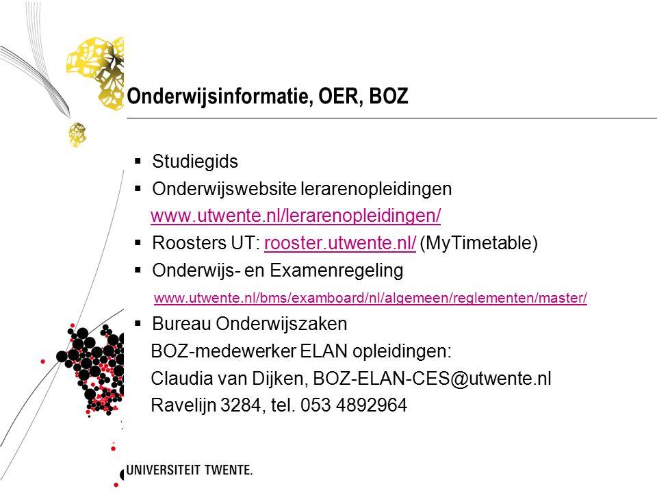 Onderwijsinformatie, OER, BOZ