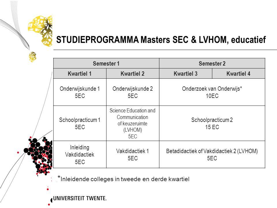 STUDIEPROGRAMMA Masters SEC & LVHOM, educatief