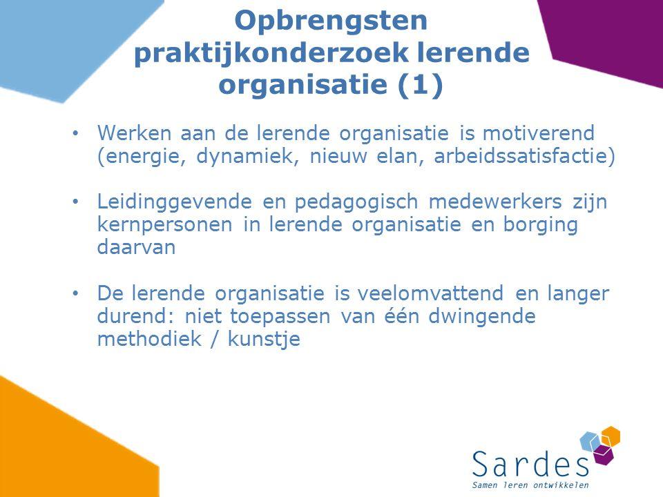 Opbrengsten praktijkonderzoek lerende organisatie (1)
