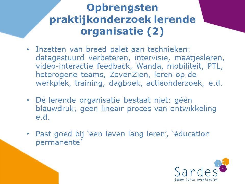 Opbrengsten praktijkonderzoek lerende organisatie (2)