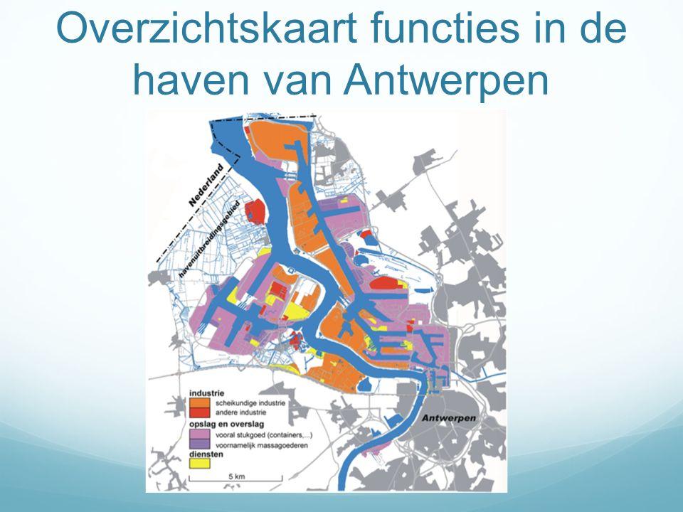 Overzichtskaart functies in de haven van Antwerpen