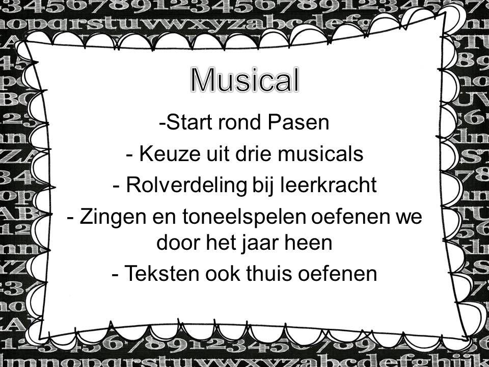 Musical Start rond Pasen Keuze uit drie musicals