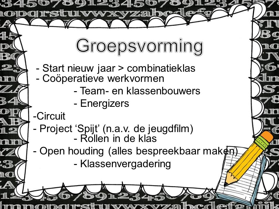 Groepsvorming - Start nieuw jaar > combinatieklas - Coöperatieve werkvormen. - Team- en klassenbouwers.