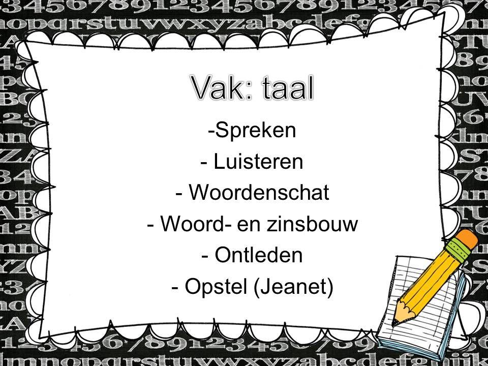 dfdsf Vak: taal Type Information here Spreken Luisteren Woordenschat