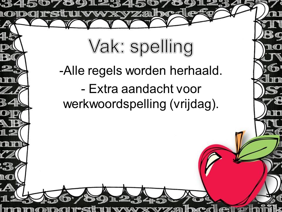 Vak: spelling Alle regels worden herhaald.