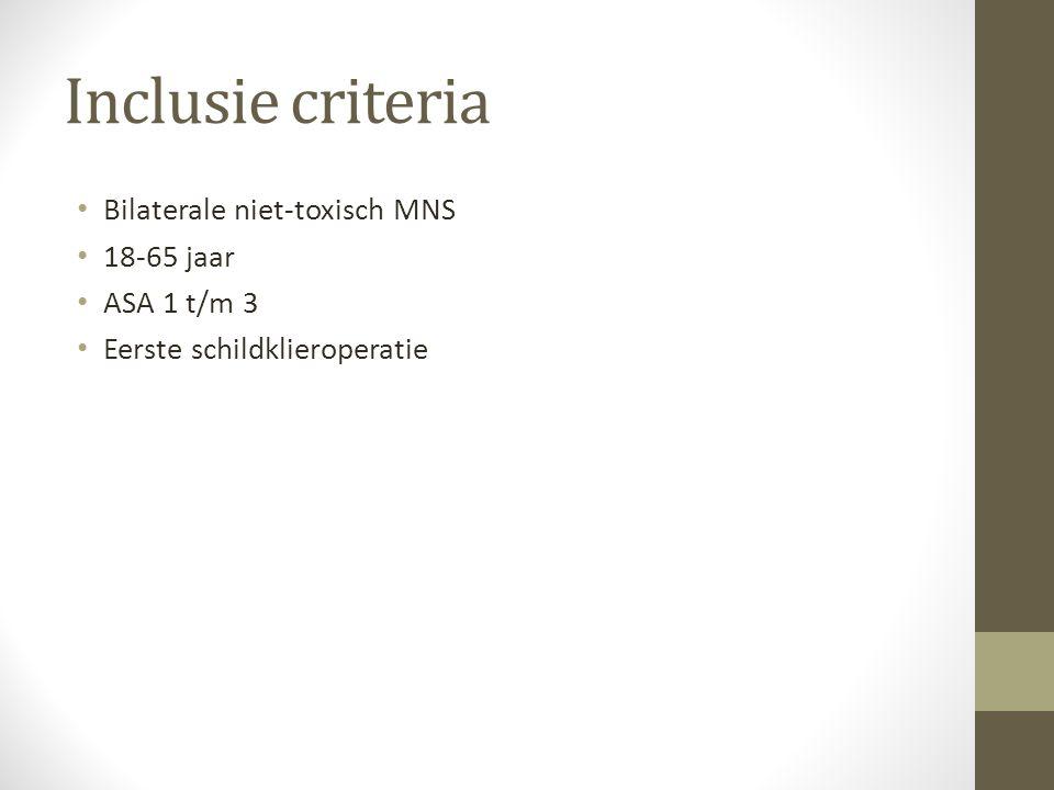 Inclusie criteria Bilaterale niet-toxisch MNS 18-65 jaar ASA 1 t/m 3