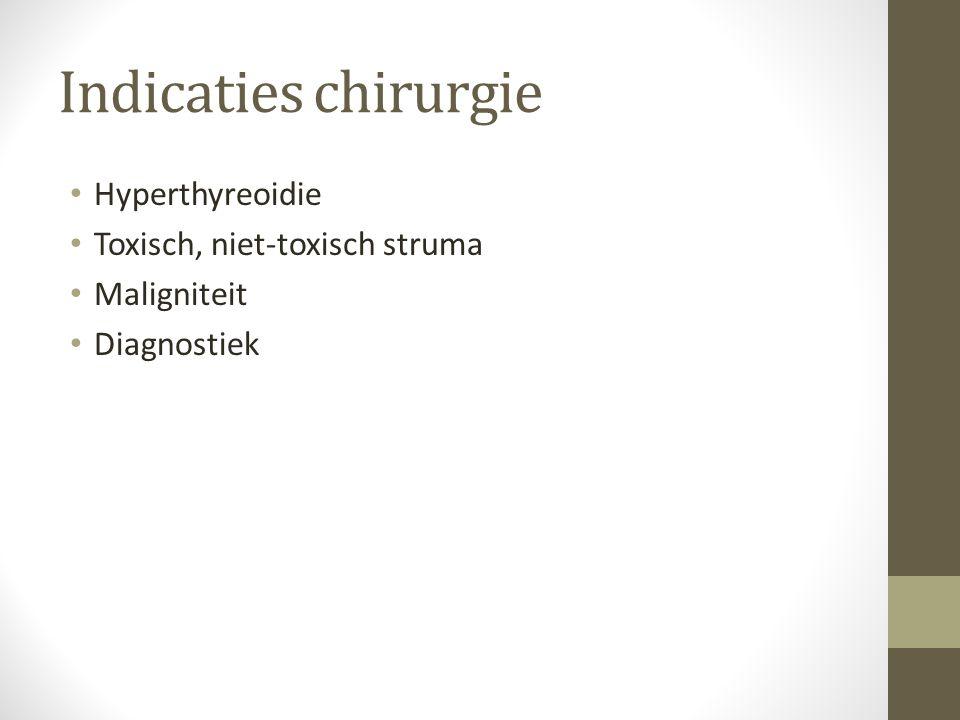 Indicaties chirurgie Hyperthyreoidie Toxisch, niet-toxisch struma