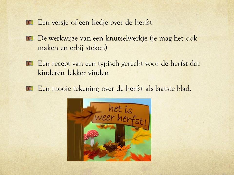 Een versje of een liedje over de herfst