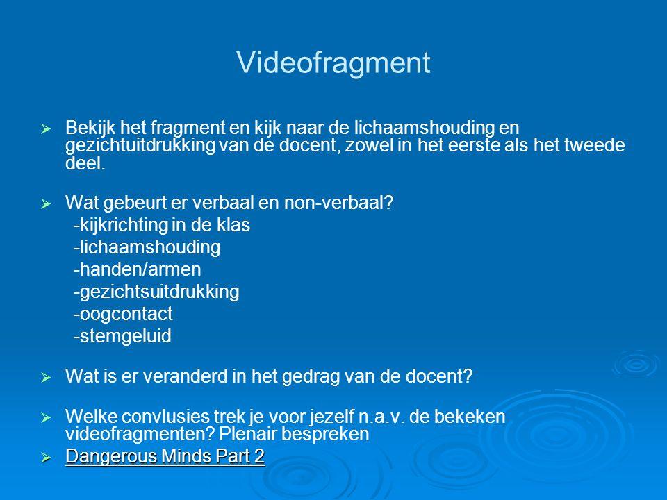 Videofragment Bekijk het fragment en kijk naar de lichaamshouding en gezichtuitdrukking van de docent, zowel in het eerste als het tweede deel.