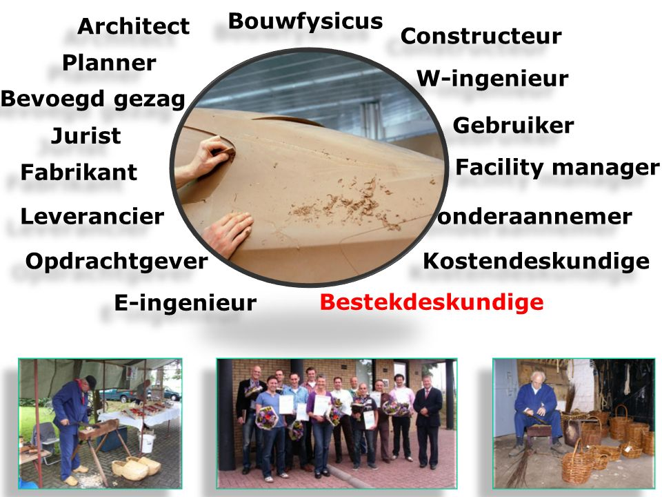 Bouwfysicus Architect. Constructeur. Planner. W-ingenieur. Bevoegd gezag. Gebruiker. Jurist. Facility manager.