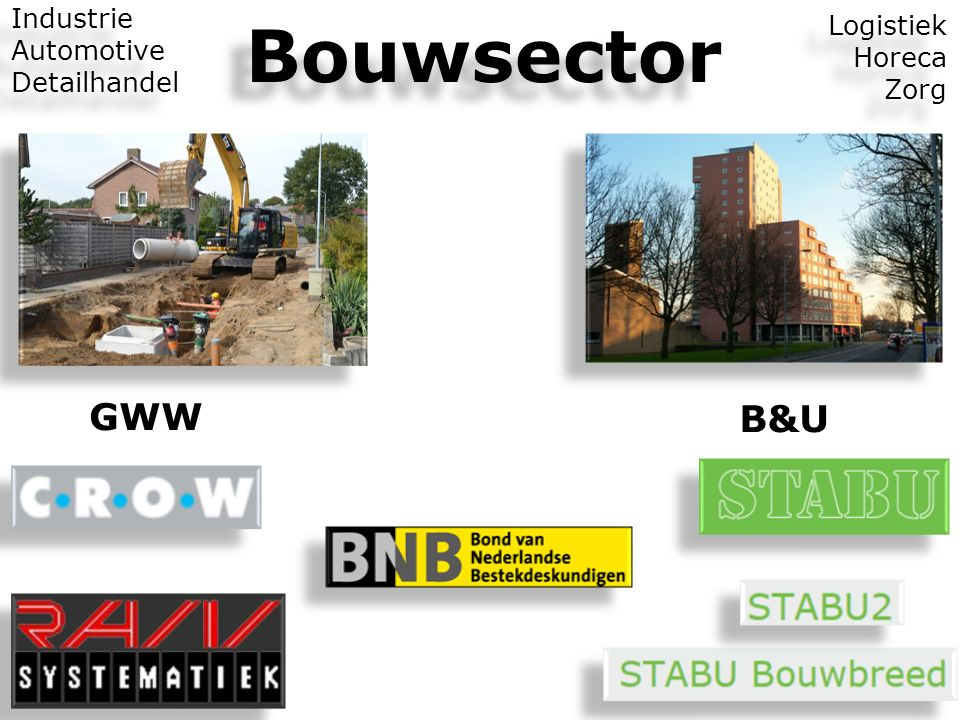 Bouwsector GWW B&U Industrie Logistiek Automotive Horeca Detailhandel