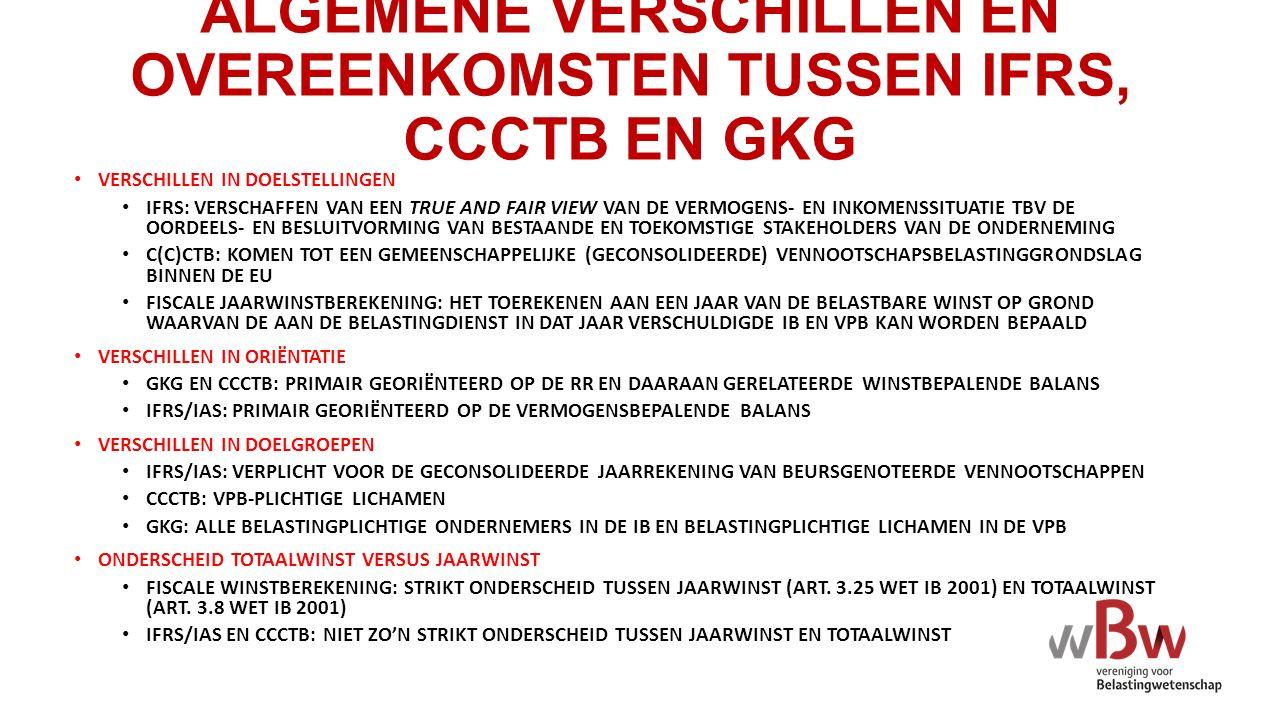ALGEMENE VERSCHILLEN EN OVEREENKOMSTEN TUSSEN IFRS, CCCTB EN GKG