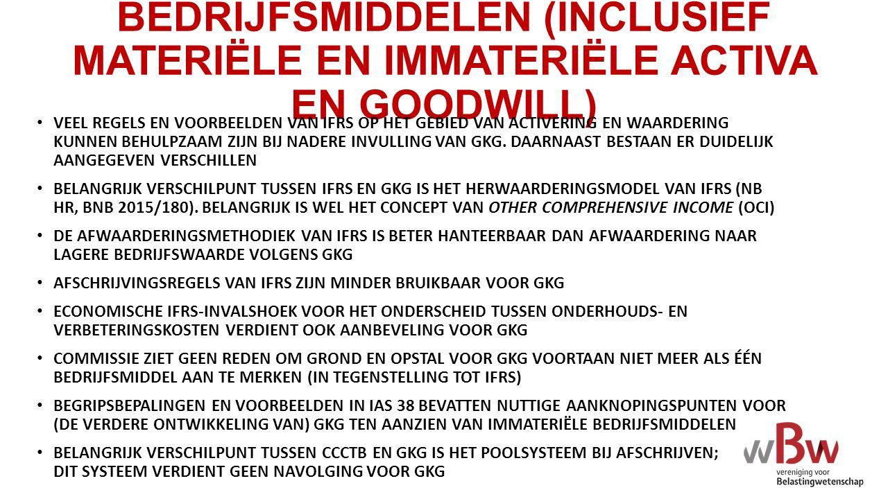 BEDRIJFSMIDDELEN (INCLUSIEF MATERIËLE EN IMMATERIËLE ACTIVA EN GOODWILL)