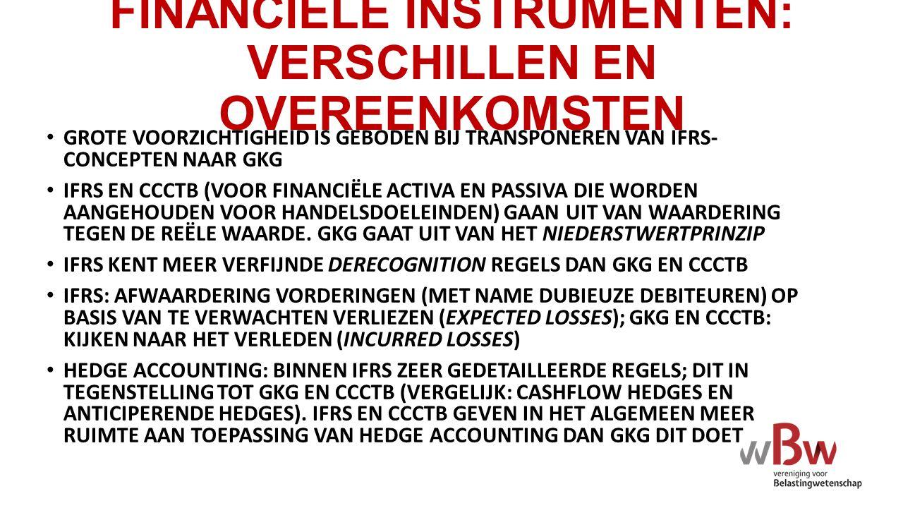 FINANCIËLE INSTRUMENTEN: VERSCHILLEN EN OVEREENKOMSTEN