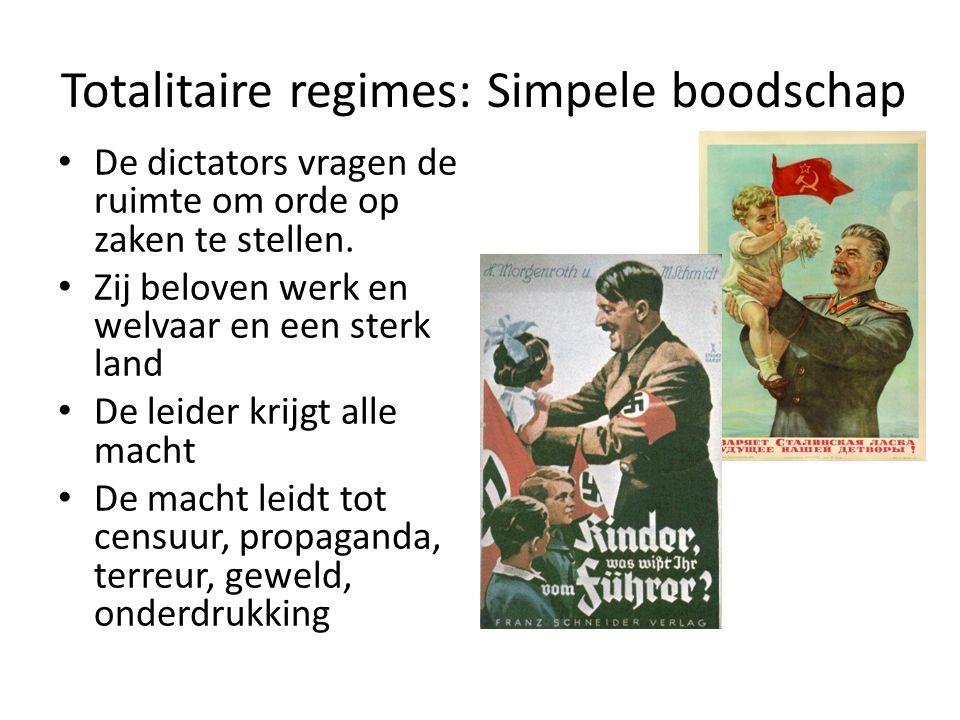 Totalitaire regimes: Simpele boodschap