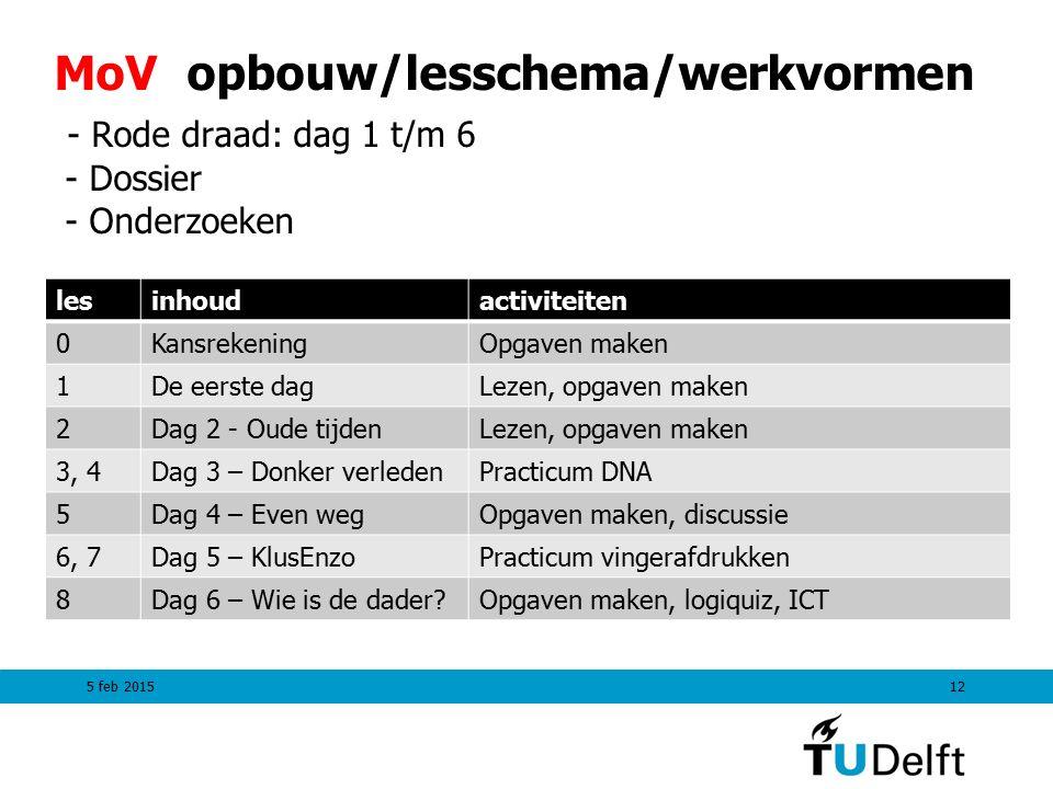 MoV opbouw/lesschema/werkvormen - Rode draad: dag 1 t/m 6 - Dossier - Onderzoeken