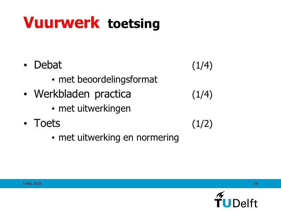 Vuurwerk toetsing Debat (1/4) Werkbladen practica (1/4) Toets (1/2)