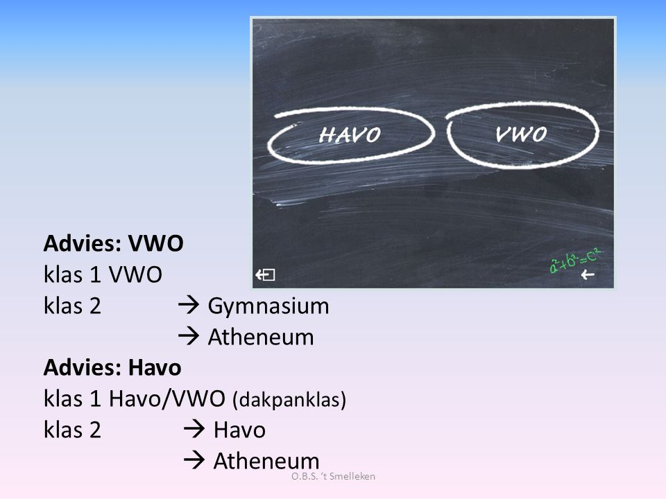 Advies: VWO klas 1 VWO klas 2  Gymnasium  Atheneum