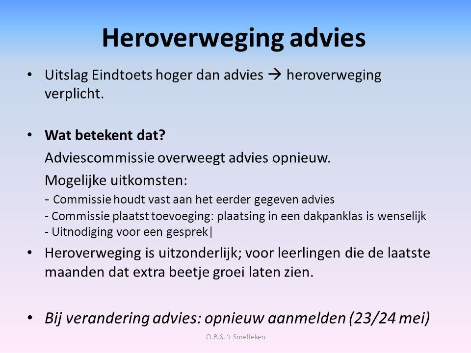 Heroverweging advies Uitslag Eindtoets hoger dan advies  heroverweging verplicht. Wat betekent dat