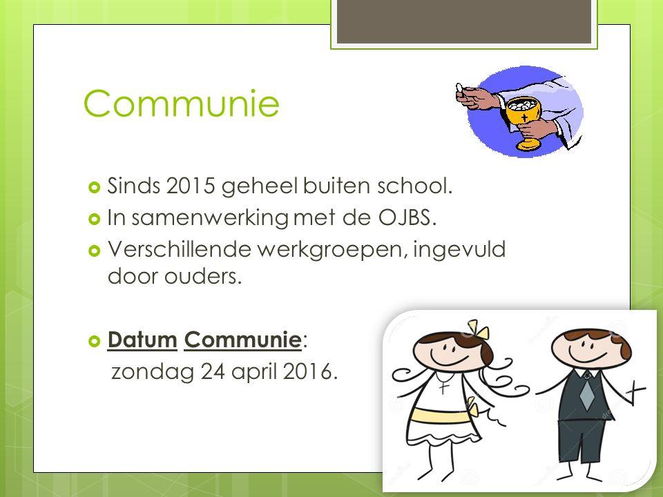 Communie Sinds 2015 geheel buiten school. In samenwerking met de OJBS.