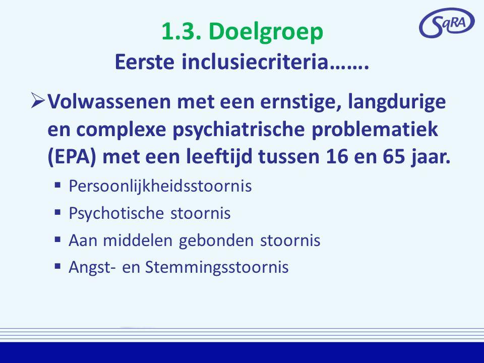 1.3. Doelgroep Eerste inclusiecriteria…….