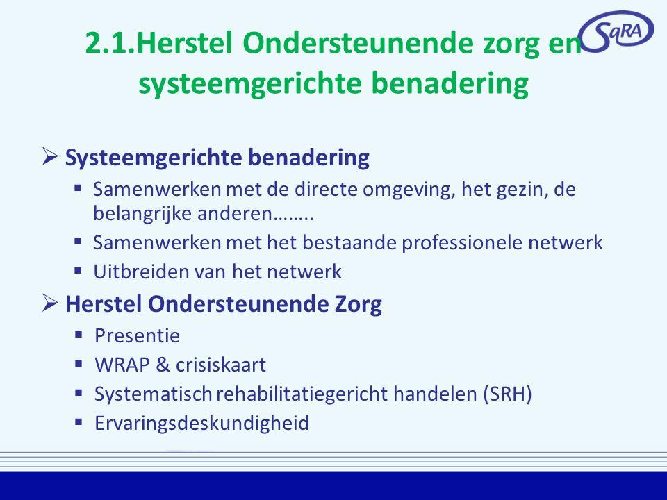 2.1.Herstel Ondersteunende zorg en systeemgerichte benadering