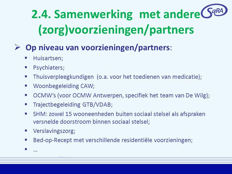 2.4. Samenwerking met andere (zorg)voorzieningen/partners
