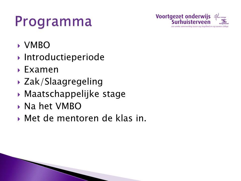 Programma VMBO Introductieperiode Examen Zak/Slaagregeling