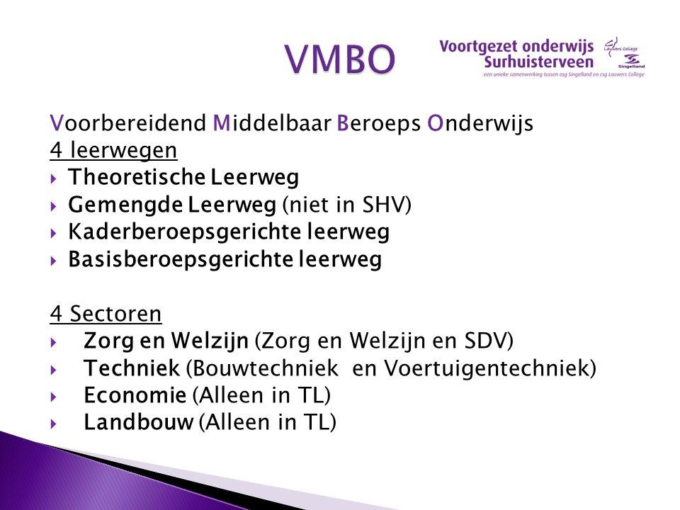 VMBO Voorbereidend Middelbaar Beroeps Onderwijs 4 leerwegen