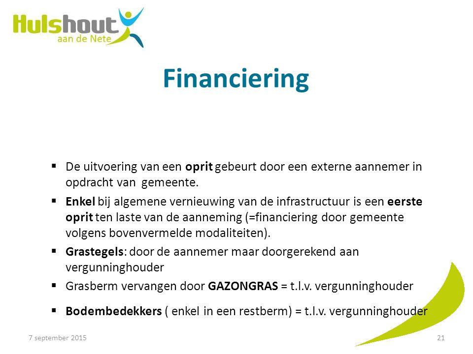 Financiering De uitvoering van een oprit gebeurt door een externe aannemer in opdracht van gemeente.