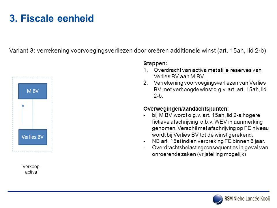 3. Fiscale eenheid Variant 3: verrekening voorvoegingsverliezen door creëren additionele winst (art. 15ah, lid 2-b)