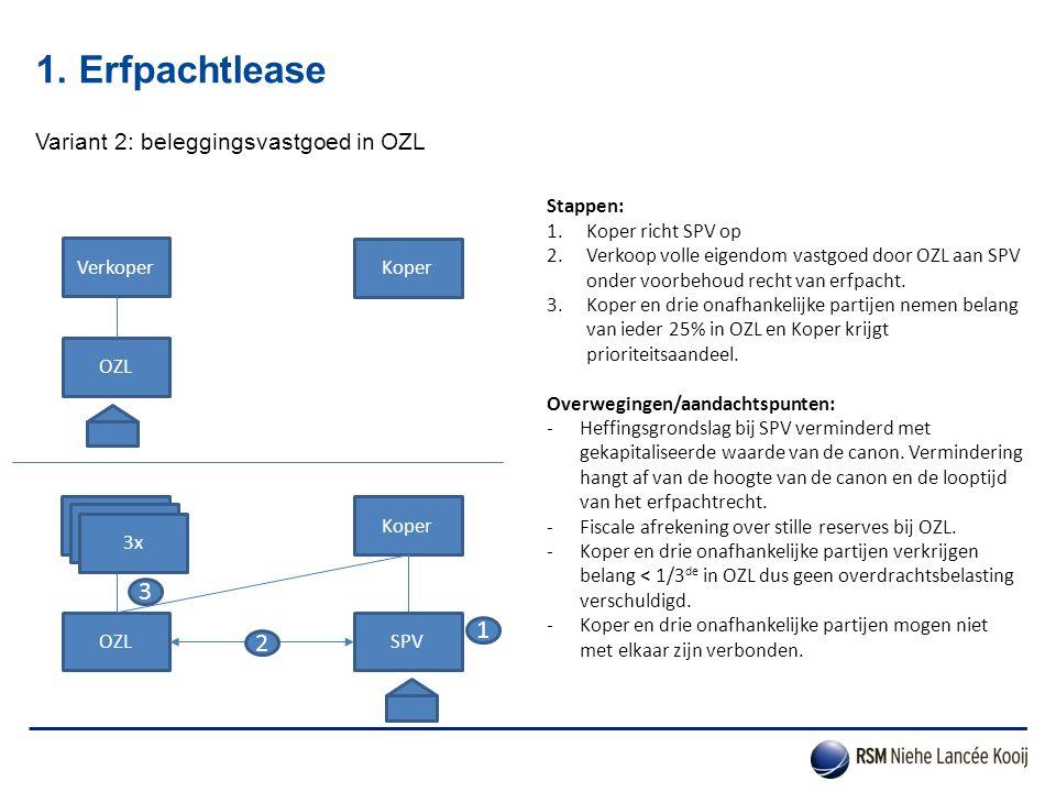 1. Erfpachtlease 3 1 2 Variant 2: beleggingsvastgoed in OZL Stappen: