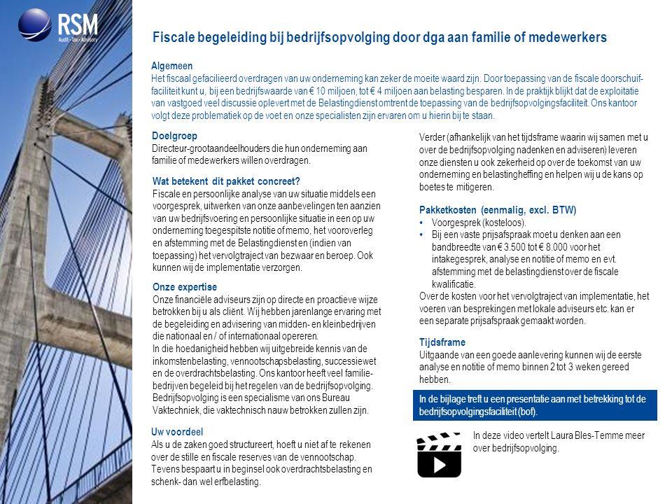 Fiscale begeleiding bij bedrijfsopvolging door dga aan familie of medewerkers