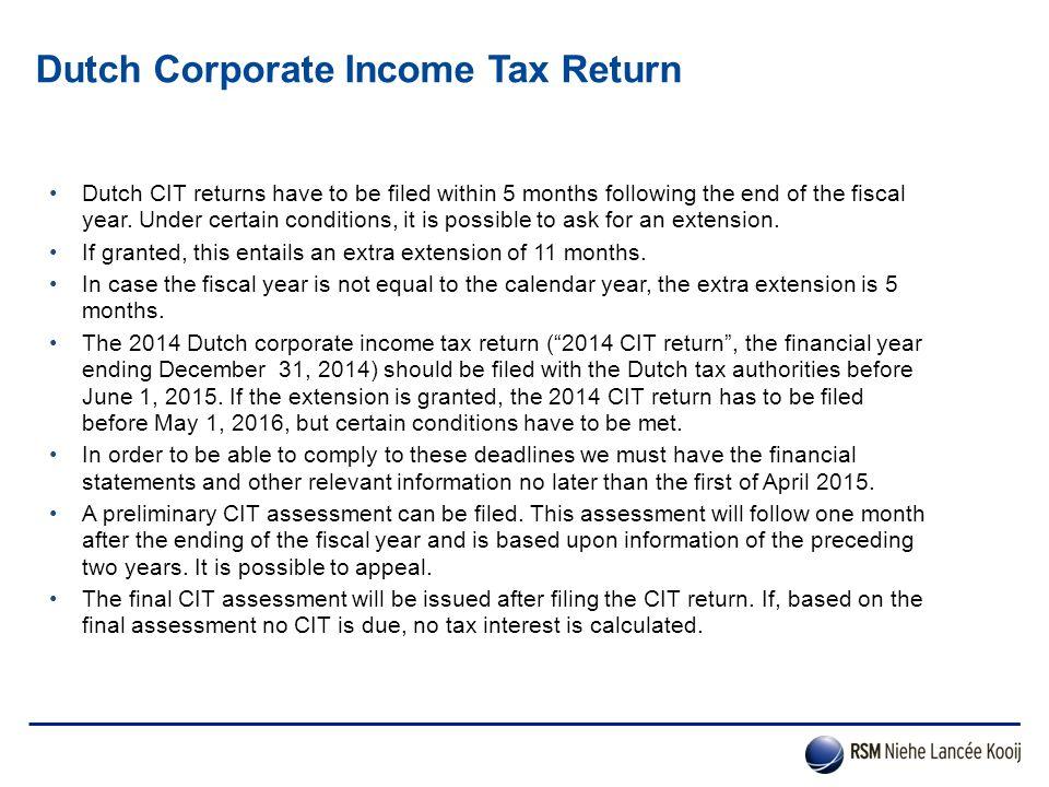 Dutch Corporate Income Tax Return