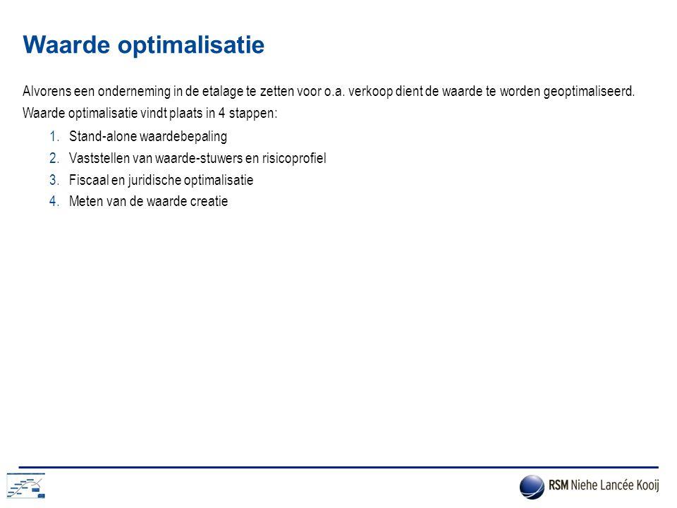 Waarde optimalisatie Alvorens een onderneming in de etalage te zetten voor o.a. verkoop dient de waarde te worden geoptimaliseerd.