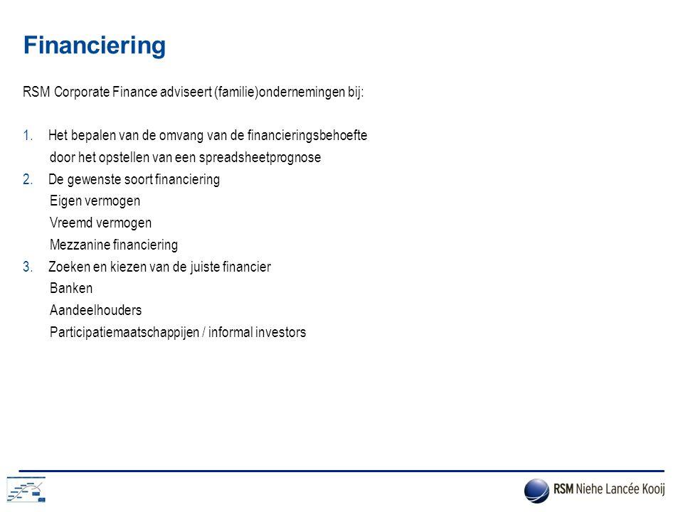 Financiering RSM Corporate Finance adviseert (familie)ondernemingen bij: Het bepalen van de omvang van de financieringsbehoefte.