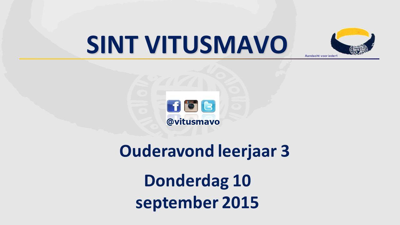 Sint Vitusmavo Ouderavond leerjaar 3 Donderdag 10 september 2015