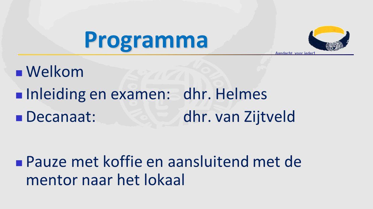 Programma Welkom Inleiding en examen: dhr. Helmes