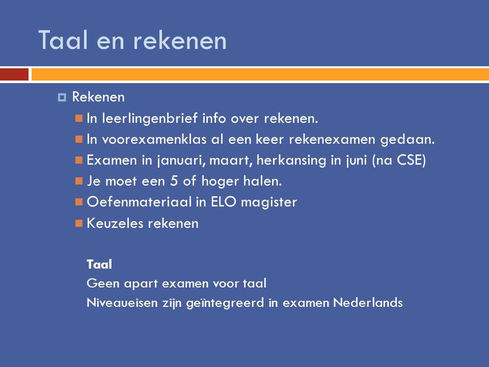 Taal en rekenen Rekenen In leerlingenbrief info over rekenen.