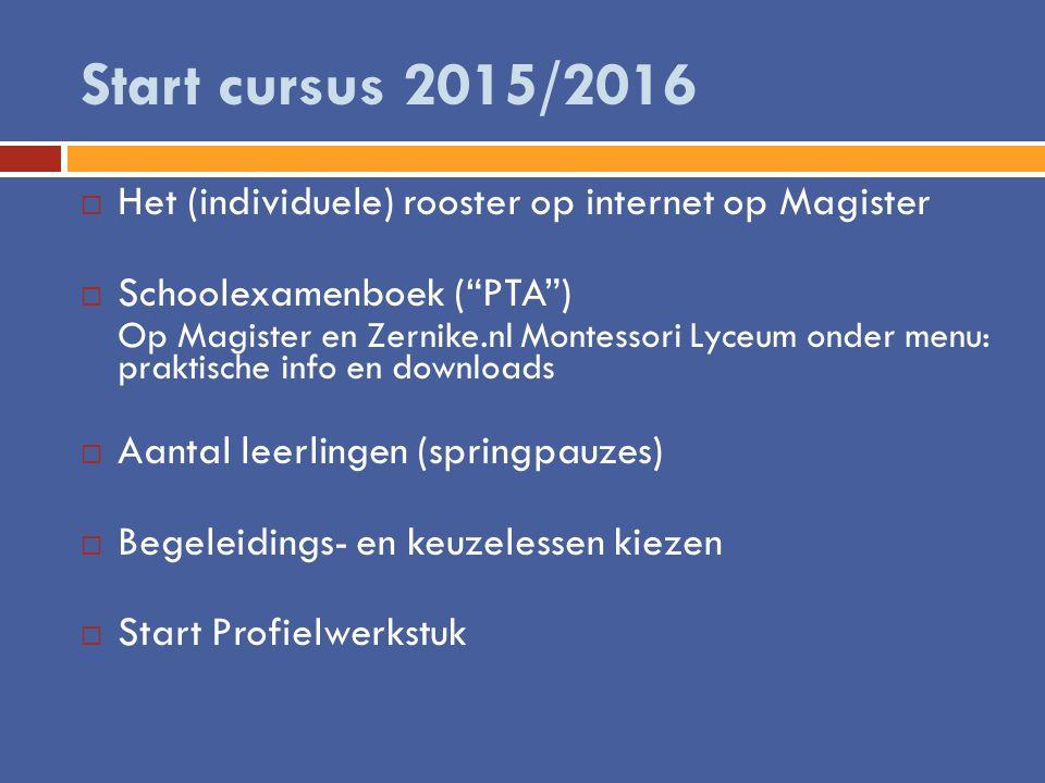 Start cursus 2015/2016 Het (individuele) rooster op internet op Magister. Schoolexamenboek ( PTA )