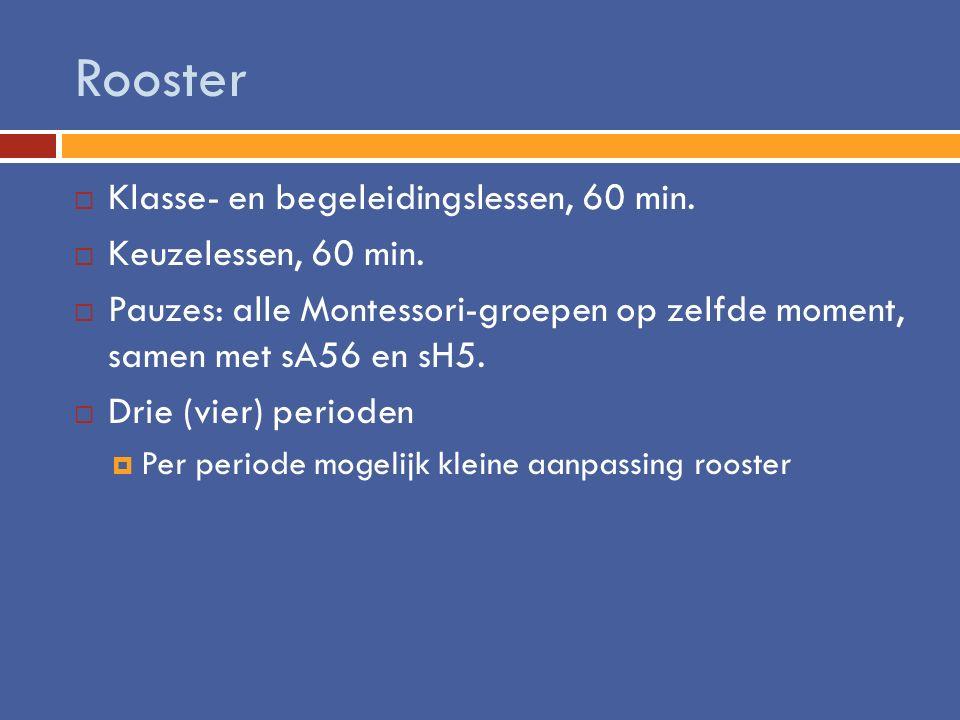 Rooster Klasse- en begeleidingslessen, 60 min. Keuzelessen, 60 min.