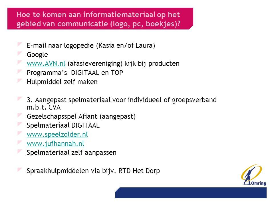 Hoe te komen aan informatiemateriaal op het gebied van communicatie (logo, pc, boekjes)