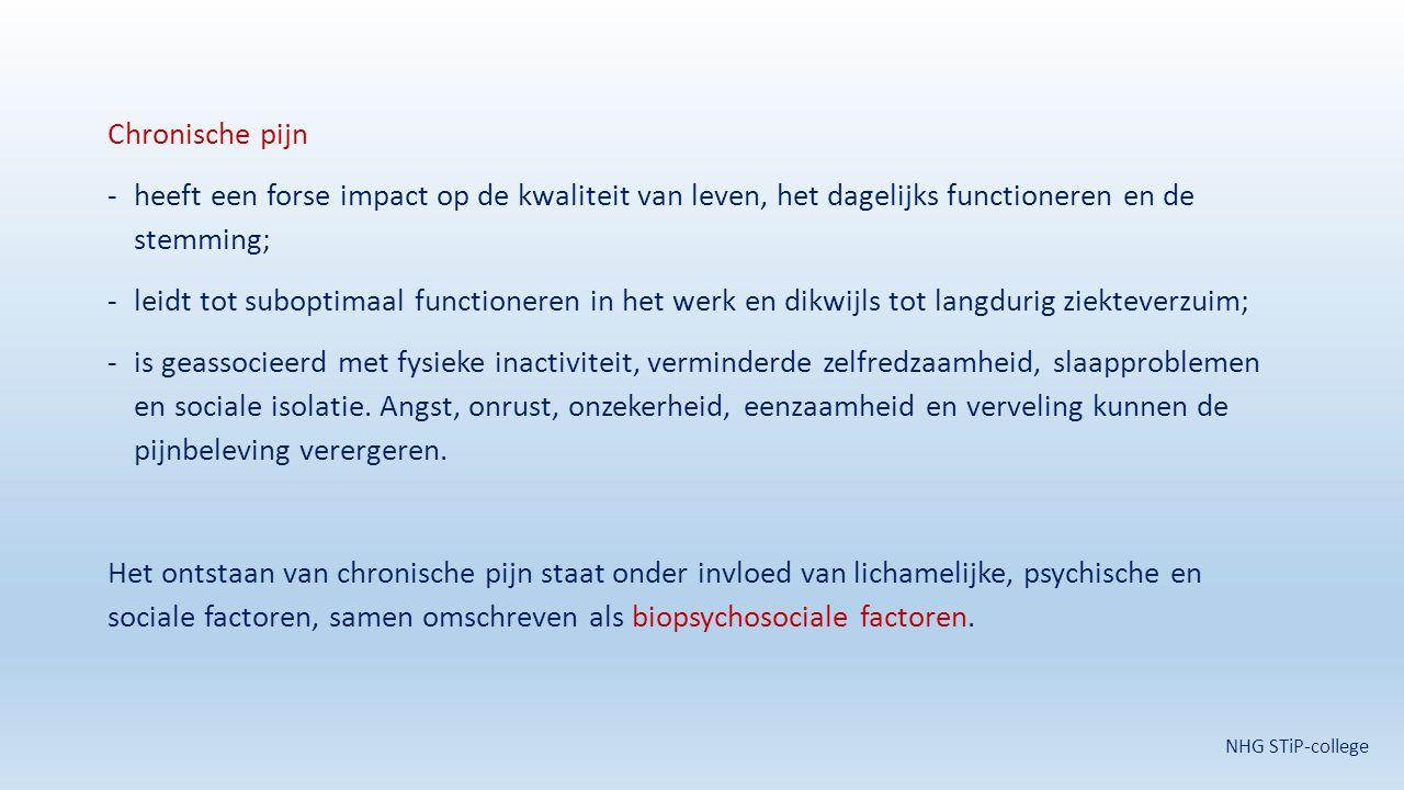 Chronische pijn heeft een forse impact op de kwaliteit van leven, het dagelijks functioneren en de stemming;