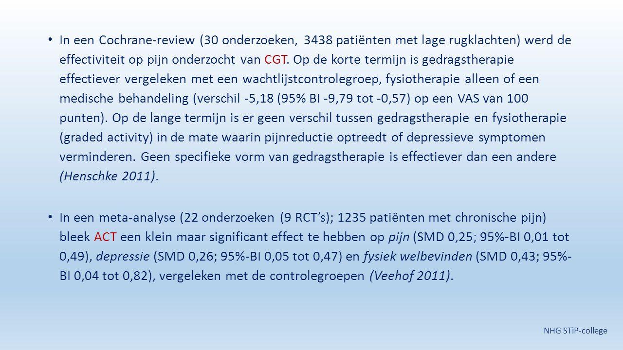 In een Cochrane-review (30 onderzoeken, 3438 patiënten met lage rugklachten) werd de effectiviteit op pijn onderzocht van CGT. Op de korte termijn is gedragstherapie effectiever vergeleken met een wachtlijstcontrolegroep, fysiotherapie alleen of een medische behandeling (verschil -5,18 (95% BI -9,79 tot -0,57) op een VAS van 100 punten). Op de lange termijn is er geen verschil tussen gedragstherapie en fysiotherapie (graded activity) in de mate waarin pijnreductie optreedt of depressieve symptomen verminderen. Geen specifieke vorm van gedragstherapie is effectiever dan een andere (Henschke 2011).