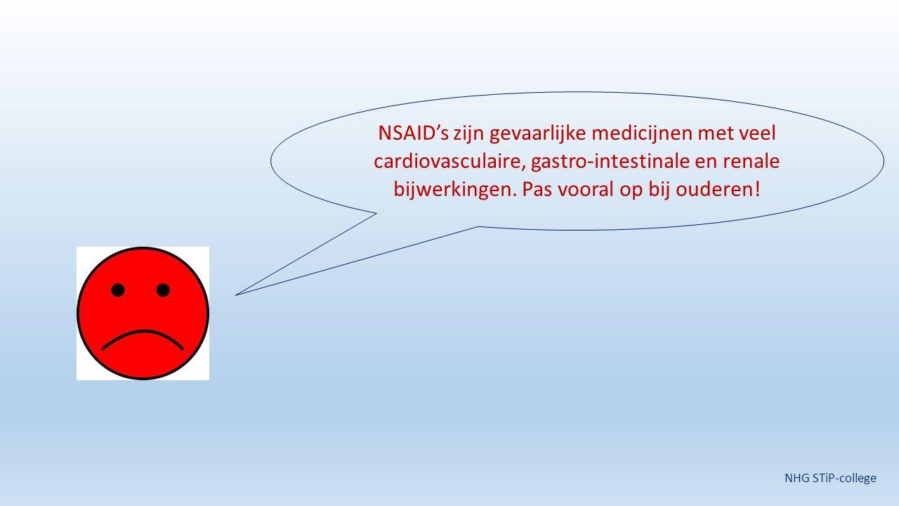 NSAID's zijn gevaarlijke medicijnen met veel cardiovasculaire, gastro-intestinale en renale bijwerkingen. Pas vooral op bij ouderen!
