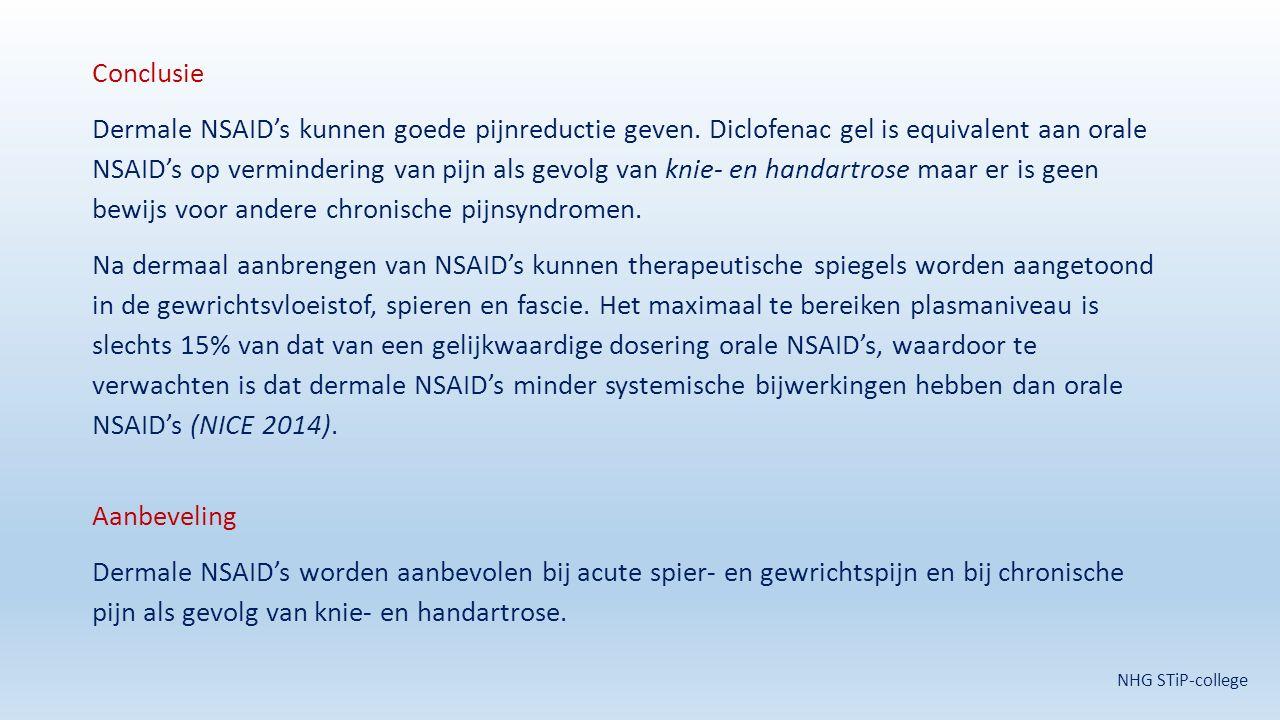 Conclusie Dermale NSAID's kunnen goede pijnreductie geven